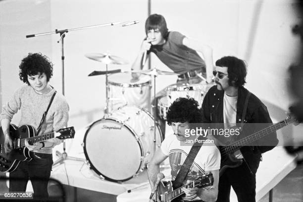 Jeremy Spencer Mick Fleetwood Peter Green and John McVie of Fleetwood Mac performing at TV Special Copenhagen Denmark May 1968