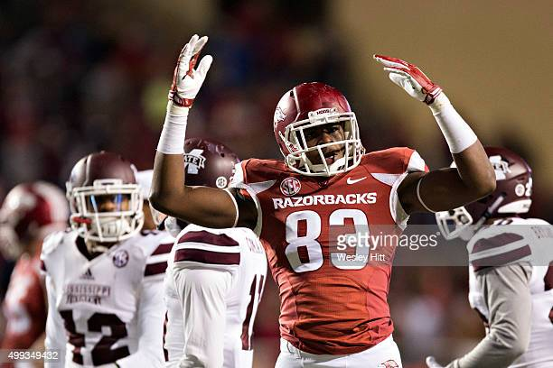 Jeremy Sprinkle of the Arkansas Razorbacks gets the fans cheering during a game against the Mississippi State Bulldogs at Razorback Stadium Stadium...