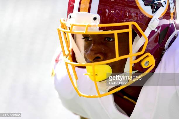 Jeremy Sprinkle of the Washington Redskins looks on during warm ups before their game against the New York Giants at MetLife Stadium on September 29...