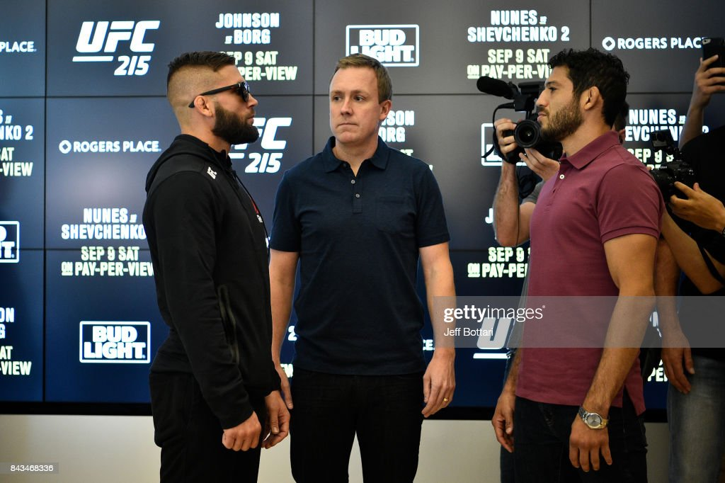 Jeremy Stephens and Gilbert Melendez face off for the media during the UFC 215 Ultimate Media Day at Rogers Place on September 6, 2017 in Edmonton, Alberta, Canada.