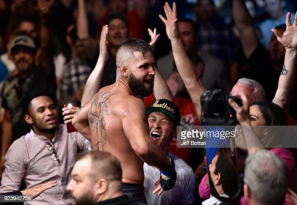 Jeremy Stephens celebrates after his knockout victory over Josh Emmett in their featherweight bout during the UFC Fight Night event at Amway Center...