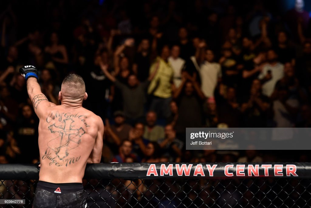 Jeremy Stephens celebrates after his knockout victory over Josh Emmett in their featherweight bout during the UFC Fight Night event at Amway Center on February 24, 2018 in Orlando, Florida.