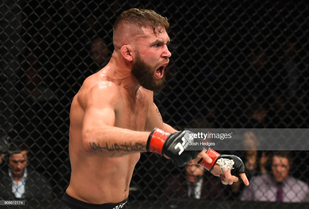 Jeremy Stephens celebrates his TKO victory over Dooho Choi of South Korea in their featherweight bout during the UFC Fight Night event inside the Scottrade Center on January 14, 2018 in St. Louis, Missouri.