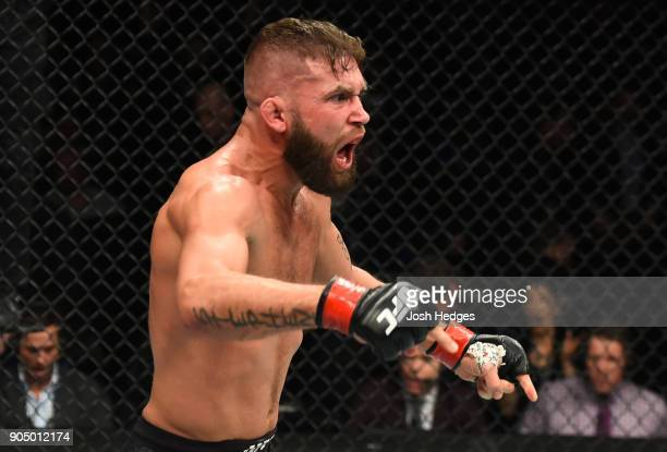 Jeremy Stephens celebrates his TKO victory over Dooho Choi of South Korea in their featherweight bout during the UFC Fight Night event inside the...
