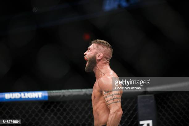 Jeremy Stephens celebrates his victory over Gilbert Melendez during UFC 215 at Rogers Place on September 9 2017 in Edmonton Canada