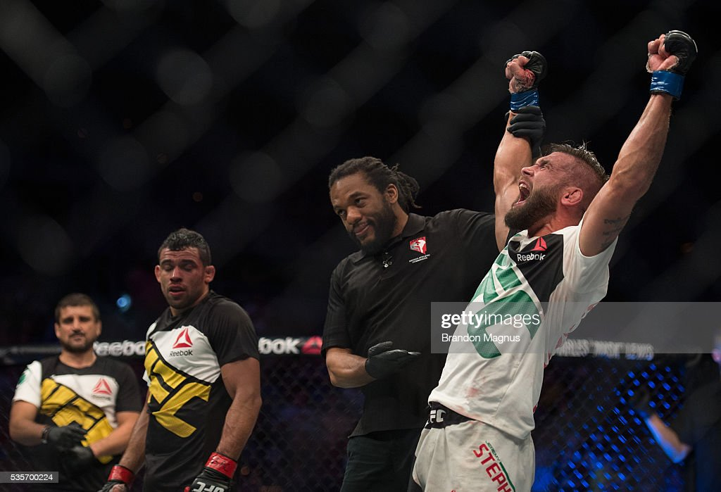 Jeremy Stephens celebrates his victory over Renan Barao in their featherweight bout during the UFC Fight Night event inside the Mandalay Bay Events Center on May 29, 2016 in Las Vegas, Nevada.