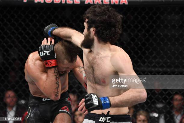 Jeremy Stephens ducks a punch from Zabit Magomedsharipov of Russia in their featherweight bout during the UFC 235 event at TMobile Arena on March 2...