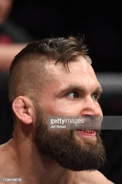 Jeremy Stephens eyes his opponent across the octagon in his featherweight bout during the UFC 235 event at TMobile Arena on March 2 2019 in Las Vegas...