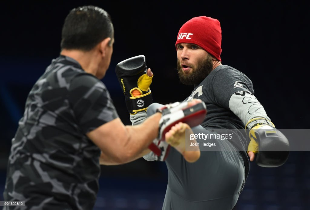 Jeremy Stephens holds an open workout for fans and media on at the Scottrade Center on January 12, 2018 in St. Louis, Missouri.