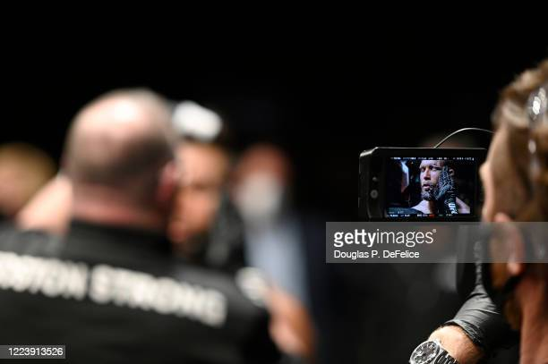 Jeremy Stephens of the United States prepares for the fight against Calvin Kattar of the United States prior to their Featherweight fight during UFC...