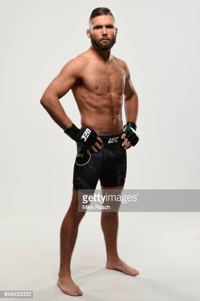 Jeremy Stephens poses for a portrait during a UFC photo session on September 6 2017 in Edmonton Alberta Canada
