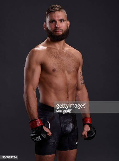 Jeremy Stephens poses for a post fight portrait backstage during the UFC Fight Night event inside the Scottrade Center on January 14 2018 in St Louis...