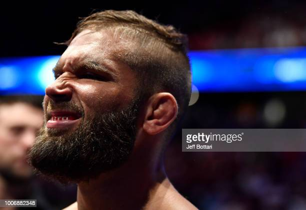 Jeremy Stephens prepares to fight Jose Aldo of Brazil in their featherweight bout during the UFC Fight Night event at Scotiabank Saddledome on July...