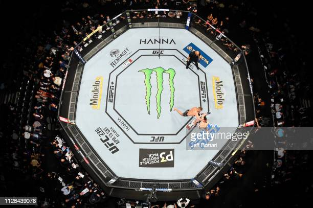 Jeremy Stephens punches Zabit Magomedsharipov of Russia in their featherweight bout during the UFC 235 event at TMobile Arena on March 2 2019 in Las...
