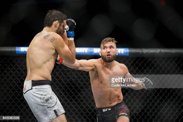 Jeremy Stephens right fights Gilbert Melendez during UFC 215 at Rogers Place on September 9 2017 in Edmonton Canada