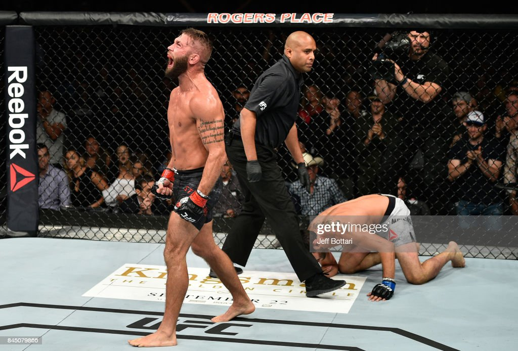Jeremy Stephens screams after facing Gilbert Melendez in their featherweight bout during the UFC 215 event inside the Rogers Place on September 9, 2017 in Edmonton, Alberta, Canada.