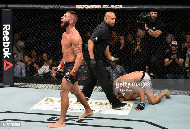 Jeremy Stephens screams after facing Gilbert Melendez in their featherweight bout during the UFC 215 event inside the Rogers Place on September 9...