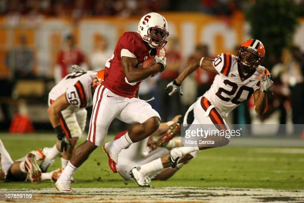 Jeremy Stewart of the Stanford Cardinal runs for a 6yard touchdow in the first quarter against the Virginia Tech Hokies during the 2011 Discover...