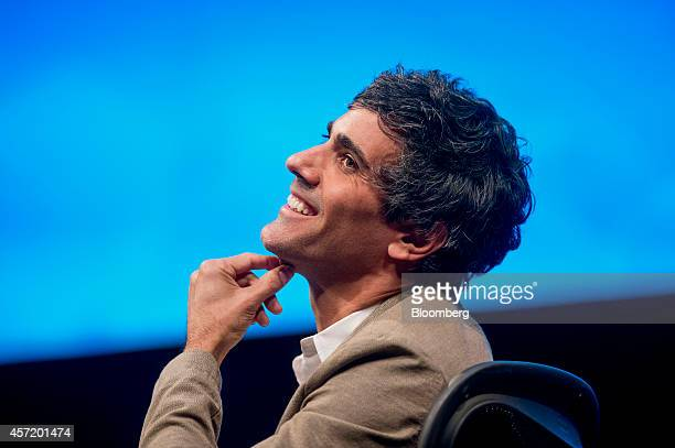 Jeremy Stoppelman, chief executive officer and co-founder of Yelp Inc., smiles during a panel discussion at the DreamForce Conference in San...