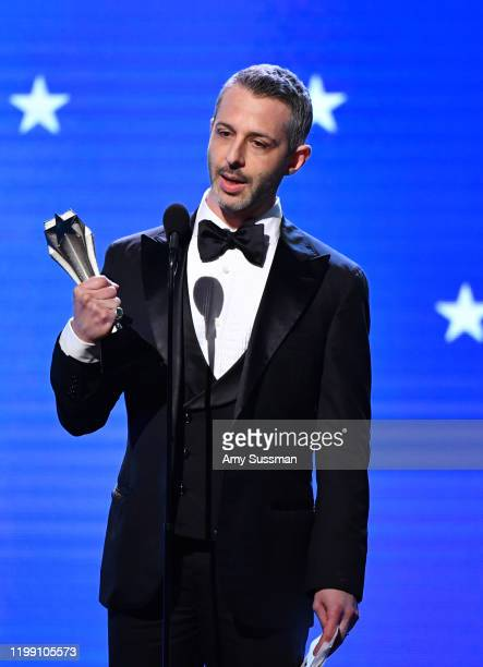 Jeremy Strong accepts the Best Actor in a Drama Series award for 'Succession' onstage during the 25th Annual Critics' Choice Awards at Barker Hangar...