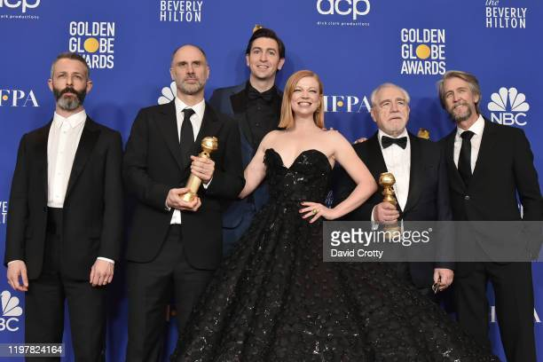 Jeremy Strong Jesse Armstrong Nicholas Braun Sarah Snook Brian Cox and Alan Ruck attend The 77th Golden Globes Awards Press Room at The Beverly...