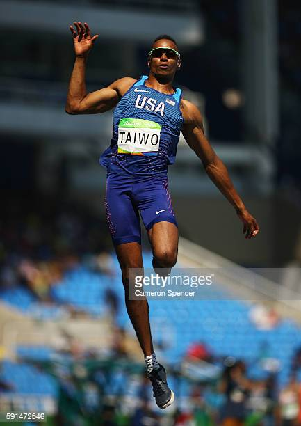 Jeremy Taiwo of the United States competes in the Men's Decathlon Long Jump on Day 12 of the Rio 2016 Olympic Games at the Olympic Stadium on August...