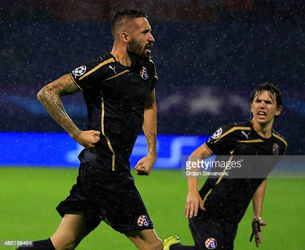 ZAGREB CROATIA AUGUST 25 Jeremy Taravel of Dinamo Zagreb celebrate scoring their third goal with the Ante Coric during the UEFA Champions League...