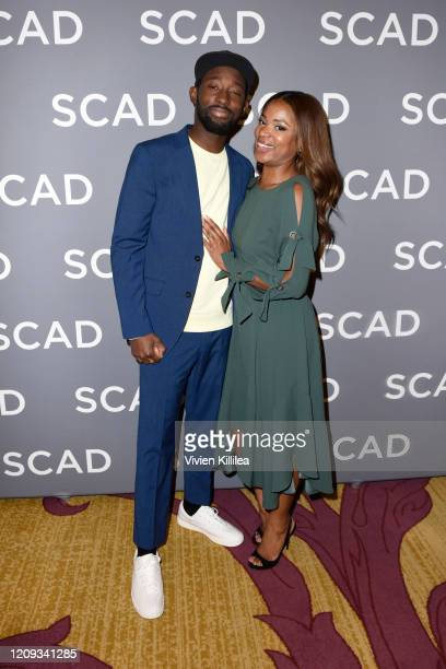 Jeremy Tardy and Tamika Waye attend the SCAD aTVfest 2020 68 Whiskey Press Junket on February 28 2020 in Atlanta Georgia