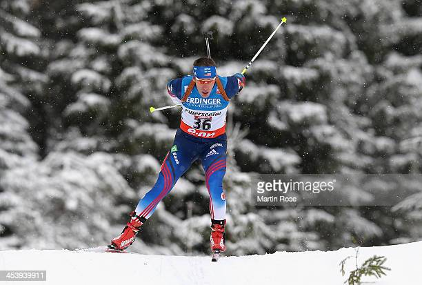 Jeremy Teela of USA competes in the men's 10km sprint event during the IBU Biathlon World Cup on December 6 2013 in Hochfilzen Austria