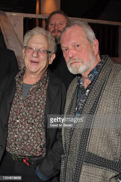 Jeremy Thomas and Terry Gilliam attend the BFI Chairman's dinner awarding Tilda Swinton with a BFI Fellowship at Rosewood London on March 2 2020 in...