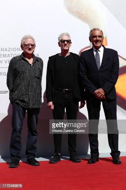 Jeremy Thomas David Cronenberg and Alberto Barbera walk the red carpet ahead of the Crash screening during the 76th Venice Film Festival at Sala...
