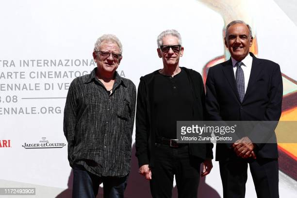 Jeremy Thomas David Cronenberg and Director of the Venice Film Festival Alberto Barbera walk the red carpet ahead of the Crash screening during the...