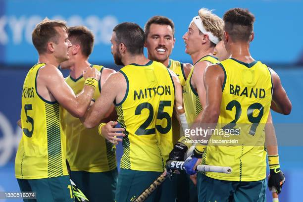 Jeremy Thomas Hayward of Team Australia celebrates with teammates after scoring their team's second goal during the Men's Preliminary Pool A match...