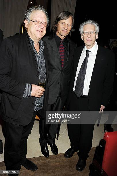 Jeremy Thomas Viggo Mortensen and David Cronenberg attend a dinner hosted by Finch's Quarterly Review to celebrate 'A Dangerous Method' held at CUT...