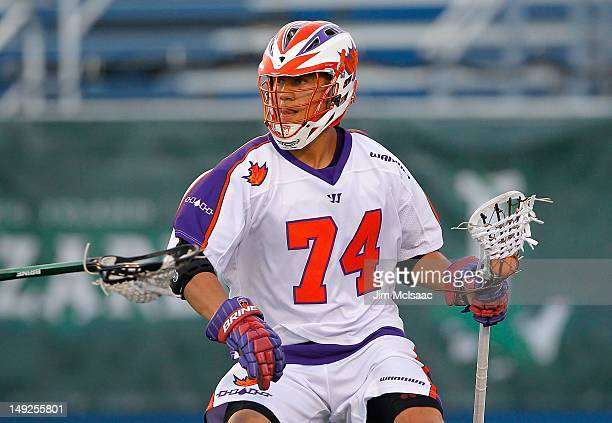 Jeremy Thompson of the Hamilton Nationals in action against the Long Island Lizards during their Major League Lacrosse game on July 21 2012 at Shuart...
