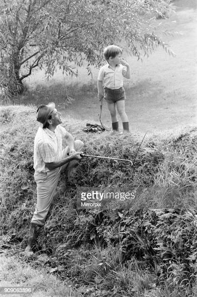 Jeremy Thorpe holidaying at home at his thatched cottage near Cobbaton Umberleigh Devon Pictured Jeremy Thorpe with his son Rupert 30th August 1972