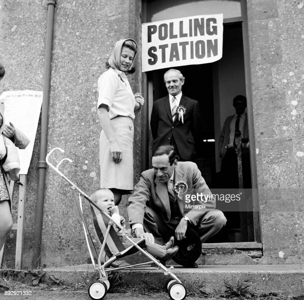 Jeremy Thorpe Liberal leader and his wife Caroline voted on their own constituency of Cobbaton North Devon Pictured with their son Rupert at the...