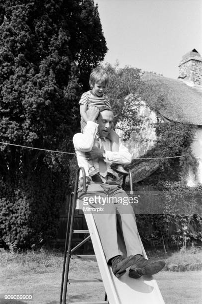 Jeremy Thorpe with his four year old son Rupert pictured at his cottage near Barnstaple 12th September 1973