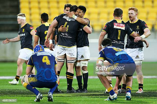 Jeremy Thrush and Ardie Savea of Wellington celebrate the win at the final whistle during the ITM Cup Semi Final between Wellington and Otago at...
