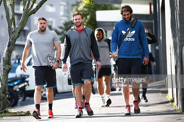 Jeremy Thrush Kieran Read and Sam Whitelock of the All Blacks arrive for a New Zealand All Blacks gym session at Les Mills Gym on Victoria Street on...
