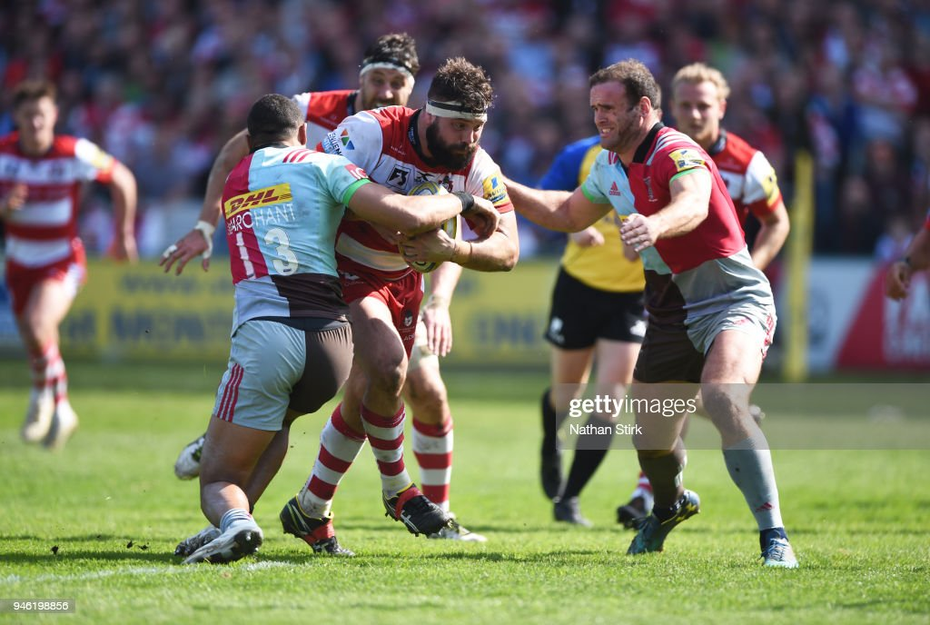 Jeremy Thrush of Gloucester in action during the Aviva Premiership match between Gloucester Rugby and Harlequins at Kingsholm Stadium on April 14, 2018 in Gloucester, England.