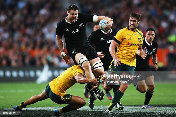 Jeremy Thrush of the All Blacks makes a break during The Rugby Championship match between the New Zealand All Blacks and the Australian Wallabies at...
