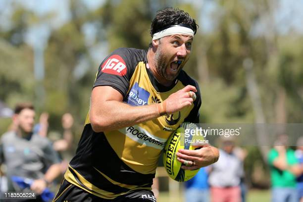 Jeremy Thrush of the Force runs in for a try during the NRC Final between the Western Force and Canberra Vikings at the University of Western...