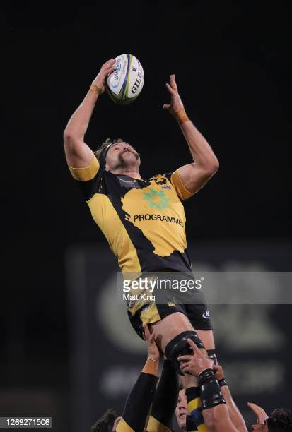 Jeremy Thrush of the Force takes the ball at the line out during the round nine Super Rugby AU match between the Brumbies and the Western Force at...
