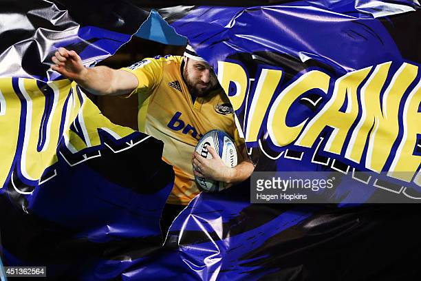 Jeremy Thrush of the Hurricanes takes the field during the round 17 Super Rugby match between the Hurricanes and the Crusaders at Westpac Stadium on...