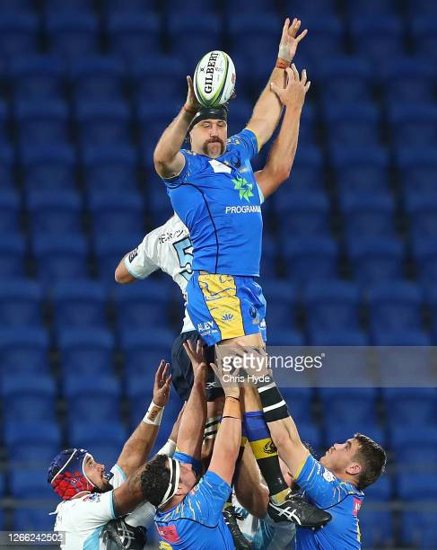 Jeremy Thrush of the Western Force takes a line out during the round seven Super Rugby AU match between the Western Force and the Waratahs at Cbus...