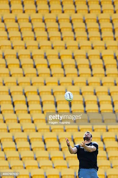 Jeremy Thrush takes a high ball during the New Zealand All Blacks Captain's Run at Westpac Stadium on September 12 2014 in Wellington New Zealand