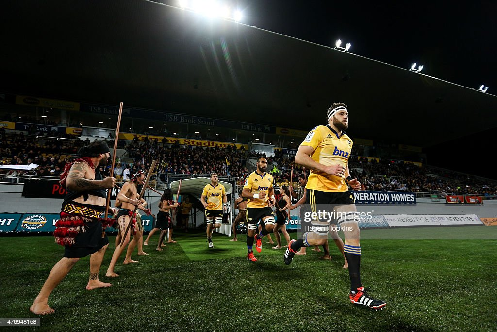 Jeremy Thrush, Victor Vito and Brad Shields of the Hurricanes take the field during the round 18 Super Rugby match between the Chiefs and the Hurricanes at Yarrow Stadium on June 13, 2015 in New Plymouth, New Zealand.
