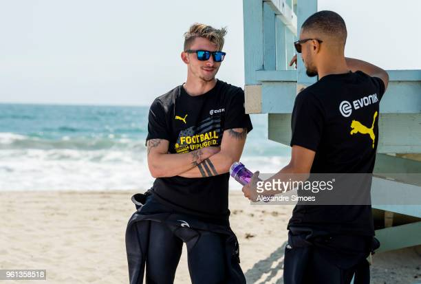 Jeremy Toljan and Maximilian Philipp of Borussia Dortmund at the Venice Beach during Borussia Dortmund's USA Training Camp in the United States on...