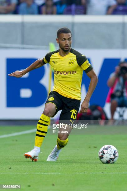 Jeremy Toljan of Borussia Dortmund controls the ball during the friendly match between Austria Wien and Borussia Dortmund at Generali Arena on July...